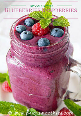blueberry banana smoothies with raspberries