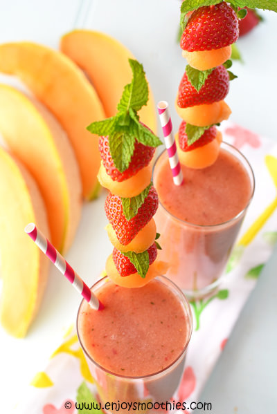cantaloupe smoothie with strawberries and peaches