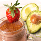 Chocolate smoothie with avocado and strawberry