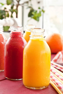 citrus smoothies in bottles