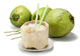 young coconuts with coconut water