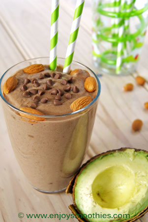 creamy chocolate smoothie with cacao and avocado