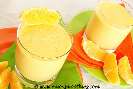 creamy orange mango smoothies with fresh orange segments