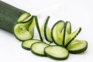 cucumber cut into spirals