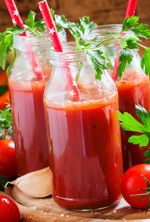 hot tomato smoothie spiced with Tabasco