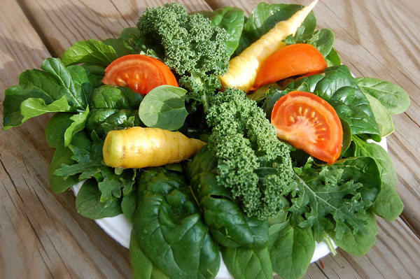 fiber rich leafy greens and vegetables