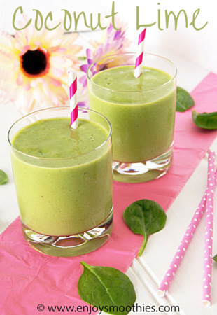 Banana mango green smoothie with coconut and lime