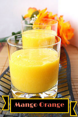 two glasses of orange mango smoothie