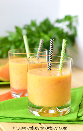 nectarine orange smoothie with cantaloupe and ricotta