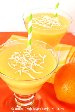 orange and mango smoothie with pineapple