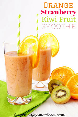 smoothie with orange, strawberry and kiwi fruit