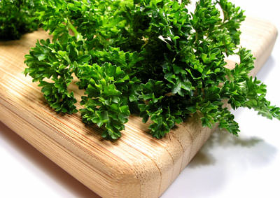 curly parsley on a wooden board
