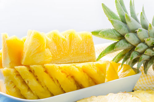 pineapple chopped into wedges