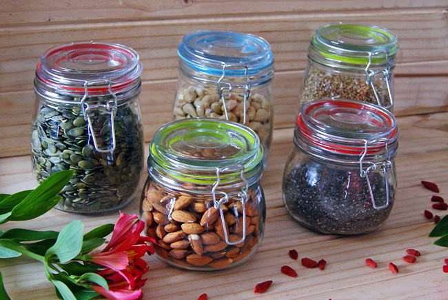 storing nuts and seeds in mason jars