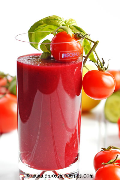 tomato smoothie with basil