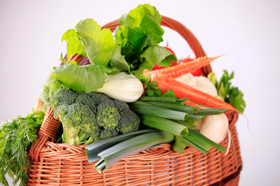 basket of vegetables for smoothies