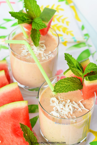 coconut chia watermelon smoothie