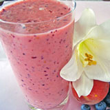 blueberry peach smoothie with flower