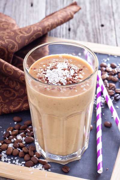 breakfast smoothie with coconut and coffee