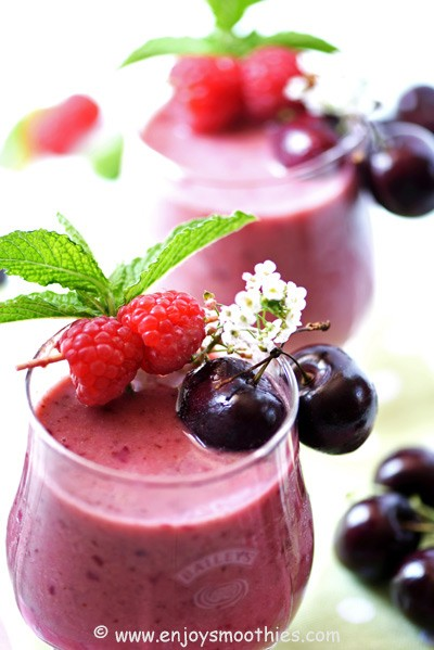 healthy smoothies with cherries and raspberries